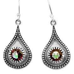 4.02cts multi color rainbow topaz 925 sterling silver dangle earrings d46841