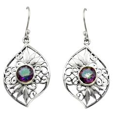 4.02cts multi color rainbow topaz 925 sterling silver dangle earrings d46868