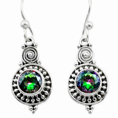 2.92cts multi color rainbow topaz 925 sterling silver dangle earrings t30023
