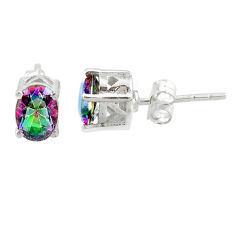 3.09cts multi color rainbow topaz 925 sterling silver stud earrings r87376