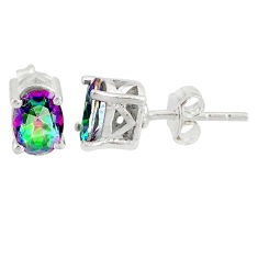 3.09cts multi color rainbow topaz 925 sterling silver stud earrings r87438