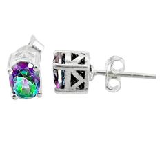 2.99cts multi color rainbow topaz 925 sterling silver stud earrings t16268