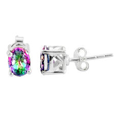 3.04cts multi color rainbow topaz 925 sterling silver stud earrings t4853
