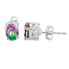 3.09cts multi color rainbow topaz 925 sterling silver stud earrings t4874