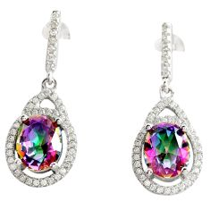 7.97cts multi color rainbow topaz topaz 925 silver dangle earrings c9623