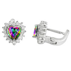 Multi color rainbow topaz topaz 925 sterling silver stud earrings jewelry c10543