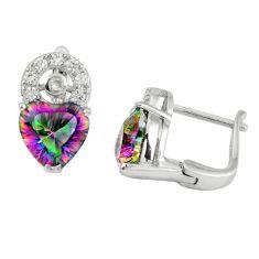 Multi color rainbow topaz topaz 925 silver stud heart earrings a67210 c24560