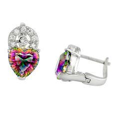 Multi color rainbow topaz topaz 925 silver stud heart earrings a67228 c24400