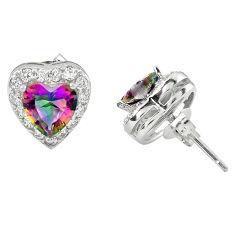 Multi color rainbow topaz topaz 925 sterling silver stud heart earrings c10552