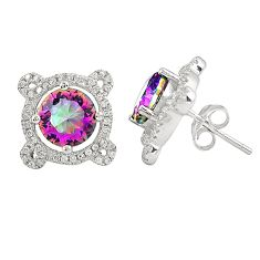 Multi color rainbow topaz topaz 925 sterling silver earrings a77346 c24588