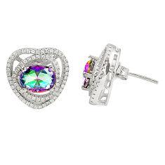 Multi color rainbow topaz topaz 925 sterling silver earrings a77353 c24584