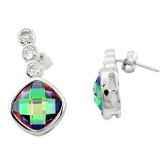 Multi color rainbow topaz topaz 925 sterling silver earrings a85861 c24568