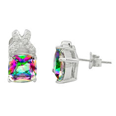 Multi color rainbow topaz topaz 925 sterling silver earrings a85871 c24566
