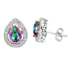 Multi color rainbow topaz topaz 925 sterling silver stud earrings a67246 c24544