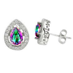 Multi color rainbow topaz topaz 925 sterling silver stud earrings a67248 c24549