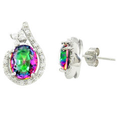 Multi color rainbow topaz topaz 925 sterling silver stud earrings a77088 c24593