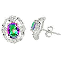 Multi color rainbow topaz topaz 925 sterling silver stud earrings a77094 c24592