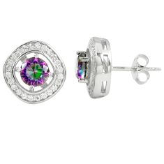 Multi color rainbow topaz topaz 925 sterling silver stud earrings a77142 c24550