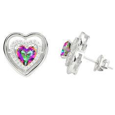 Multi color rainbow topaz topaz 925 sterling silver stud earrings a77176 c24552