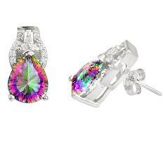 Multi color rainbow topaz topaz 925 sterling silver stud earrings a77327 c24565