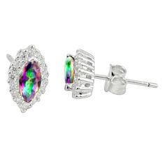 Multi color rainbow topaz topaz 925 sterling silver stud earrings a85890 c24577