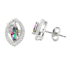 Multi color rainbow topaz topaz 925 sterling silver stud earrings a85893 c24576