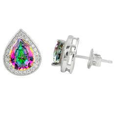 Multi color rainbow topaz topaz 925 sterling silver stud earrings c10542