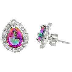 Multi color rainbow topaz topaz 925 sterling silver stud earrings c10548
