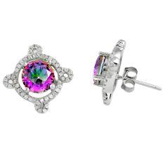 Multi color rainbow topaz topaz 925 sterling silver stud earrings c10551