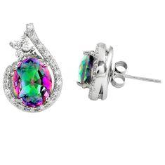 Multi color rainbow topaz topaz 925 sterling silver stud earrings c10555