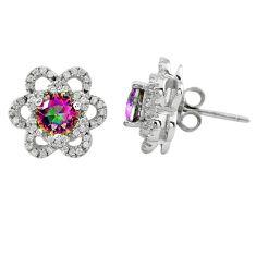 Multi color rainbow topaz topaz 925 sterling silver stud earrings c23015