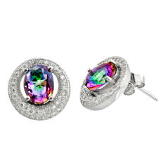 8.42cts multi color rainbow topaz topaz 925 sterling silver stud earrings c9948