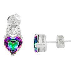 Multi color rainbow topaz topaz 925 sterling silver stud heart earrings c23016