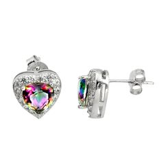 5.22cts multi color rainbow topaz topaz quartz 925 silver earrings c9945