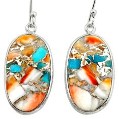 16.90cts multi color spiny oyster arizona turquoise 925 silver earrings d39932
