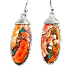 17.53cts multi color spiny oyster arizona turquoise 925 silver earrings r29301