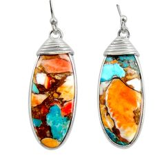 16.88cts multi color spiny oyster arizona turquoise 925 silver earrings r29307
