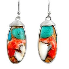 15.32cts multi color spiny oyster arizona turquoise 925 silver earrings r29308