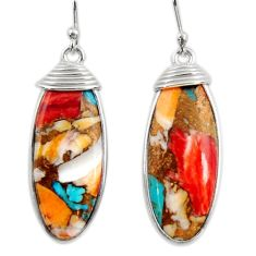 16.49cts multi color spiny oyster arizona turquoise 925 silver earrings r29309