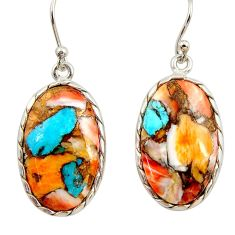 16.88cts multi color spiny oyster arizona turquoise 925 silver earrings r29312