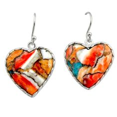 18.14cts multi color spiny oyster arizona turquoise 925 silver earrings r29317