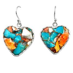19.29cts multi color spiny oyster arizona turquoise 925 silver earrings r29319