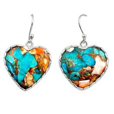 19.29cts multi color spiny oyster arizona turquoise 925 silver earrings r29320