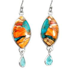 15.93cts multi color spiny oyster arizona turquoise 925 silver earrings r29321