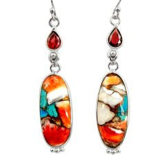 19.29cts multi color spiny oyster arizona turquoise 925 silver earrings r29325
