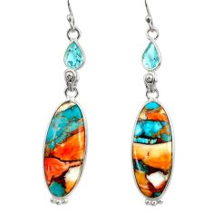 19.29cts multi color spiny oyster arizona turquoise 925 silver earrings r29328