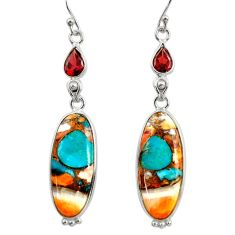 18.70cts multi color spiny oyster arizona turquoise 925 silver earrings r29332