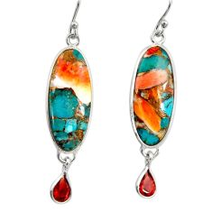16.88cts multi color spiny oyster arizona turquoise 925 silver earrings r29333