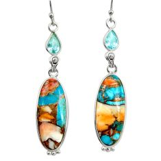 18.70cts multi color spiny oyster arizona turquoise 925 silver earrings r29334