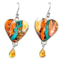 21.01cts multi color spiny oyster arizona turquoise 925 silver earrings r29338